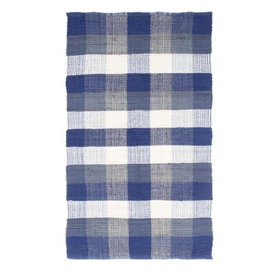Brisbin Plaid Accent Hand-Woven Navy Blue Area Rug Rug Size: Rectangle 23 x 39