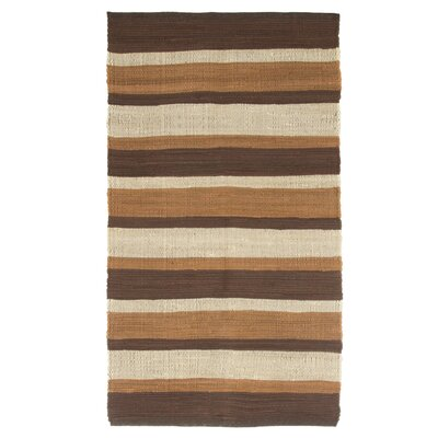 Sandeep Stripe Accent Hand-Woven Taupe Area Rug Rug Size: Rectangle 23 x 39
