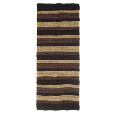 Sandeep Stripe Accent Hand-Woven Black Area Rug Rug Size: Rectangle 19 x 210