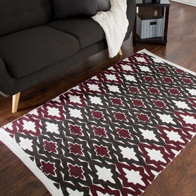 Roche Trellis Accent Hand-Woven Burgundy Area Rug