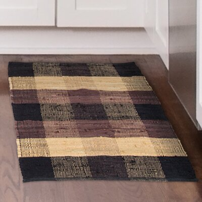 Hand-Woven Brown/Beige Area Rug Rug Size: 1'9