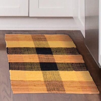 Chindi Hand-Woven Orange/Black Area Rug Rug Size: 19 x 210