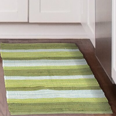 Chindi Hand-Woven Green/Gray Area Rug Rug Size: 19 x 210