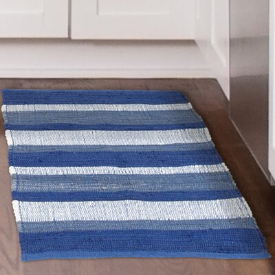 Chindi Hand-Woven Blue/White Area Rug Rug Size: 19 x 210