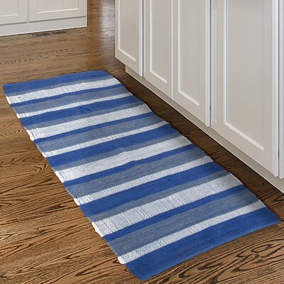 Chindi Hand-Woven Blue/White Area Rug Rug Size: Runner 2 x 54