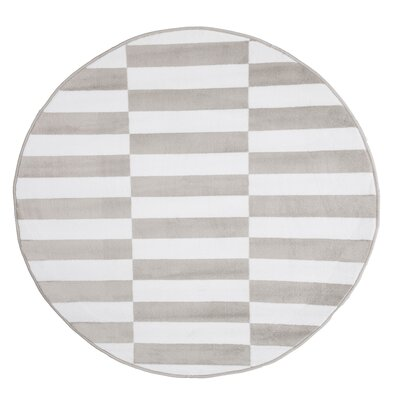 Checkered Stripes White/Gray Area Rug Rug Size: 5 Round
