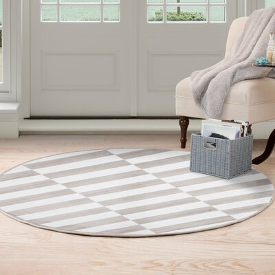 Checkered Stripes Gray Area Rug Rug Size: Round 5