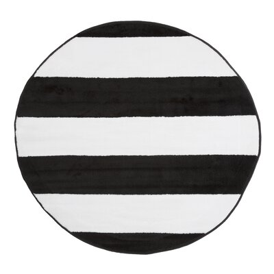 Josh Stripe Black/White Area Rug Rug Size: Rectangle 8 x 10