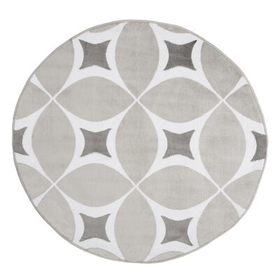 Julian Gray/White Area Rug Rug Size: Round 5