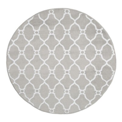 Lattice Gray Area Rug Rug Size: 5 Round