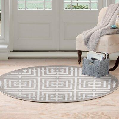Athens Gray/White Area Rug Rug Size: Round 5