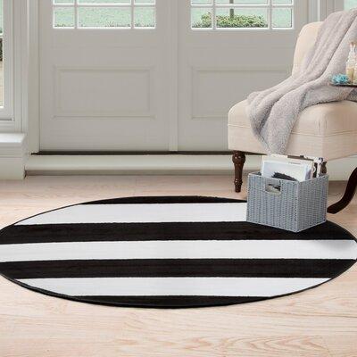 Breton Stripe Black/White Area Rug Rug Size: Round 5'