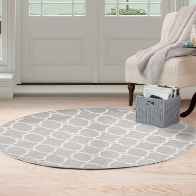 Lattice Gray Area Rug Rug Size: Round 5