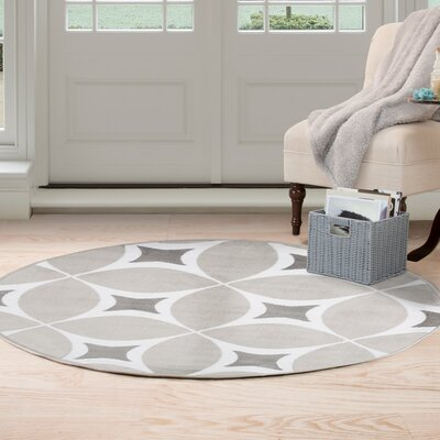 Jane Gray/White Area Rug Rug Size: Round 5'