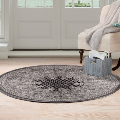 Royal Garden Gray/White Area Rug Rug Size: Round 5