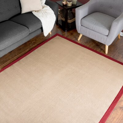 Hand-Woven Beige/Pink Area Rug Rug Size: 5 x 78