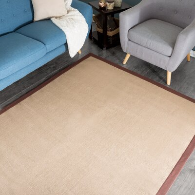 Hand-Woven Brown/Beige Area Rug Rug Size: 5 x 78