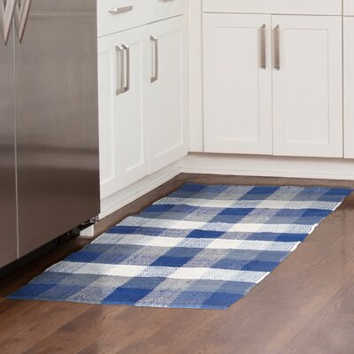 Chindi Hand-Woven Blue/White Area Rug Rug Size: 23 x 39