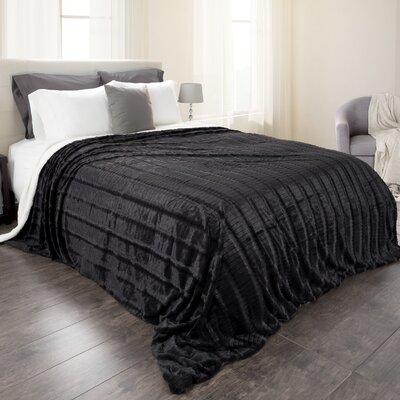 Fleece Sherpa Blanket Size: Full/Queen, Color: Black