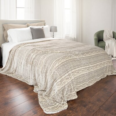 Flannel Sherpa Blanket Size: Full/Queen, Color: Beige