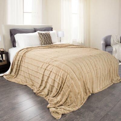 Fleece Sherpa Blanket Size: Twin, Color: Taupe