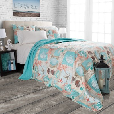 Yush Nautical Starfish Quilt Set Size: Twin