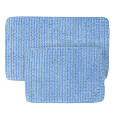 Jacquard Fleece Memory Foam 2 Piece Bath Rug Set Color: Blue