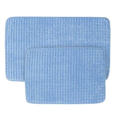 Jacquard Fleece Memory Foam 2 Piece Bath Rug Set Color: Blue