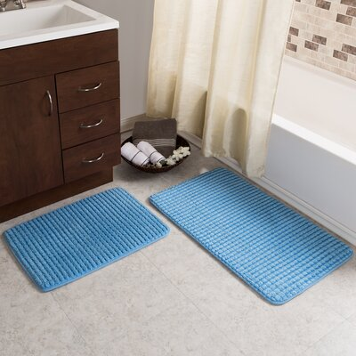 Hitesh 2 Piece Jacquard Memory Foam Bath Rug Set Color: Blue