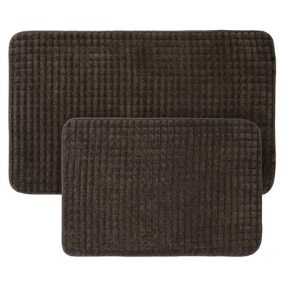 Jacquard Fleece Memory Foam 2 Piece Bath Rug Set Color: Chocolate