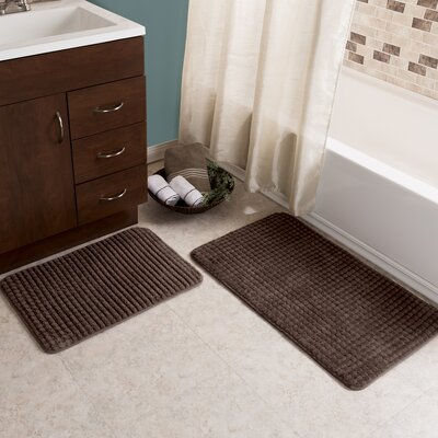 Hitesh 2 Piece Jacquard Memory Foam Bath Rug Set Color: Chocolate