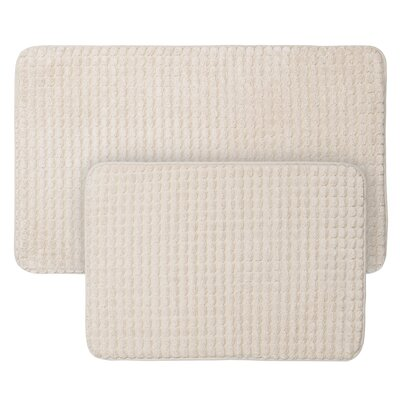 Jacquard Fleece Memory Foam 2 Piece Bath Rug Set Color: Ivory