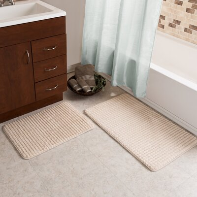 Hitesh 2 Piece Jacquard Memory Foam Bath Rug Set Color: Ivory