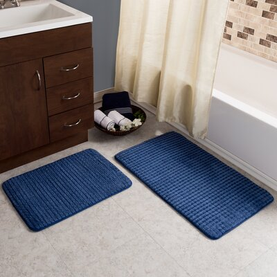 Hitesh 2 Piece Jacquard Memory Foam Bath Rug Set Color: Navy