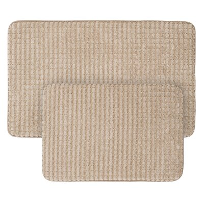 Jacquard Fleece Memory Foam 2 Piece Bath Rug Set Color: Taupe