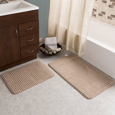 Hitesh 2 Piece Jacquard Memory Foam Bath Rug Set Color: Taupe