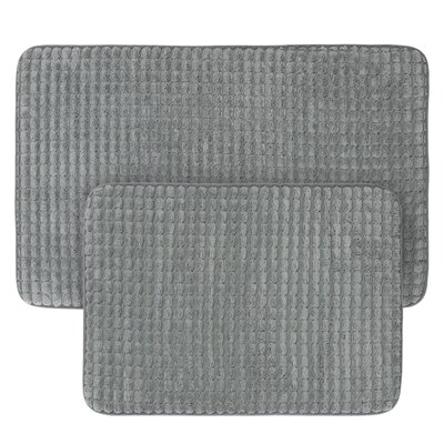 Jacquard Fleece Memory Foam 2 Piece Bath Rug Set Color: Platinum