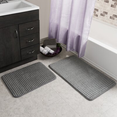 Hitesh 2 Piece Jacquard Memory Foam Bath Rug Set Color: Platinum