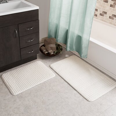 Hitesh 2 Piece Jacquard Memory Foam Bath Rug Set Color: White