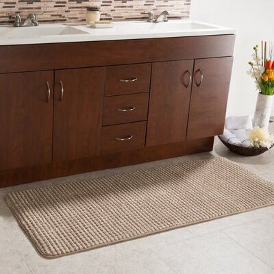 Bishop 1 Piece Jacquard Long Memory Foam Bath Rug Color: Taupe