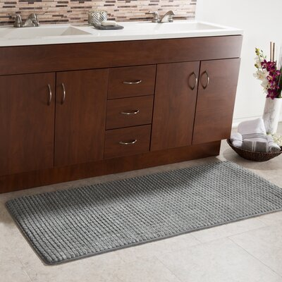 Bishop 1 Piece Jacquard Long Memory Foam Bath Rug Color: Platinum