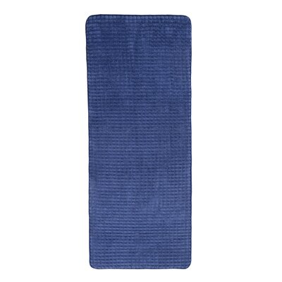 Jacquard Fleece Memory Foam Long Bath Rug Color: Navy
