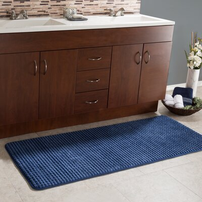 Sabrine 2 Piece Jacquard Long Memory Foam Bath Rug Set Color: Navy