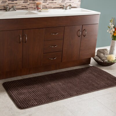 Bishop 1 Piece Jacquard Long Memory Foam Bath Rug Color: Chocolate