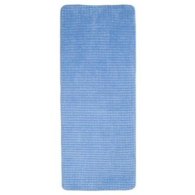 Jacquard Fleece Memory Foam Long Bath Rug Color: Blue