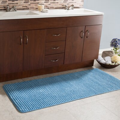 Bishop 1 Piece Jacquard Long Memory Foam Bath Rug Color: Blue