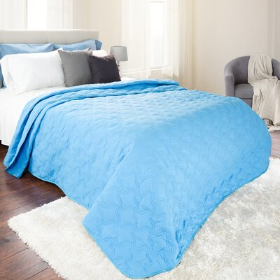 Classic Stitch Lightweight Quilted Blanket Color: Blue, Size: King