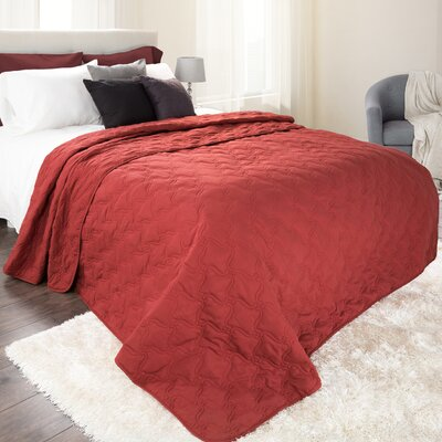 Classic Stitch Lightweight Quilted Blanket Color: Burgundy, Size: King