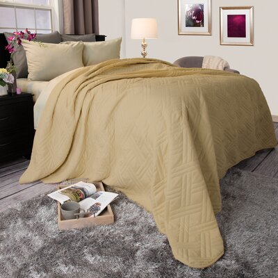 Summer Quilted Blanket Size: Twin, Color: Taupe