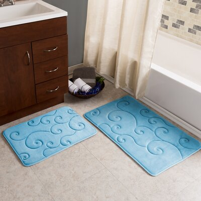2 Piece Coral Fleece Embossed Bath Rug Set Color: Blue